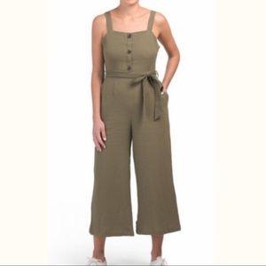 Rachel Zoe olive green wide leg jumpsuit